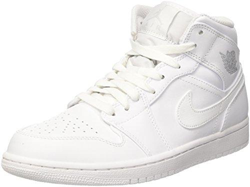 Nike Herren Air Jordan 1 Mid Basketballschuhe, Elfenbein ( Weisspure Platinum Weiss 104), 47.5 EU