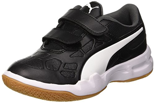 Puma Unisex-Kinder TENAZ V JR Multisport Indoor Schuhe, Schwarz Black White-Iron Gate-Gum 01, EU