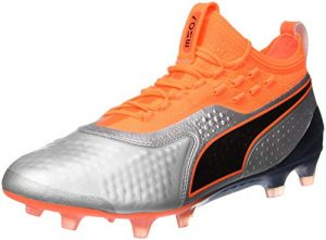Puma Herren ONE 1 LTH FG/AG Fußballschuhe, Silber Silver-Shocking Orange Black 01, 48.5 EU